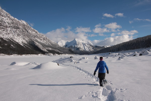 Snowshoeing near Maligne Lake, Jasper National Park