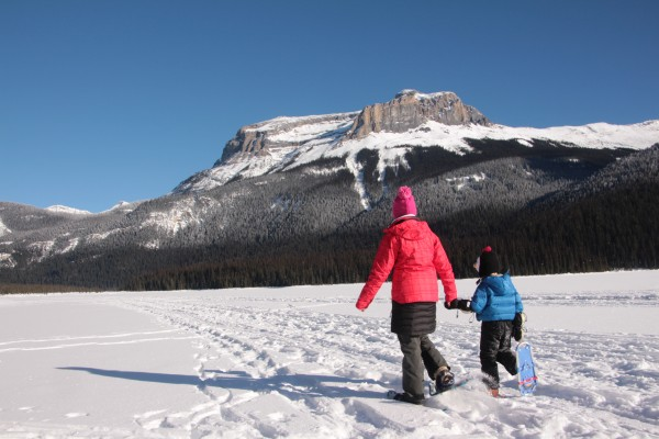 Snowshoeing across Emerald Lake