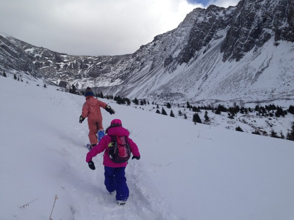 This trail didn't require snowshoes. Some kids chose to wear them and some didn't.