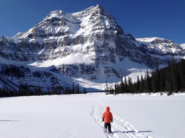 Snowshoeing across beautiful Shadow Lake