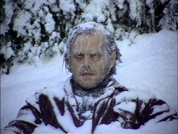 The Shining's Jack Nicholson frozen like an ultra winter athlete