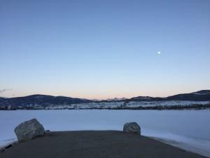 Serene moonrise over Dillon Reservoir.