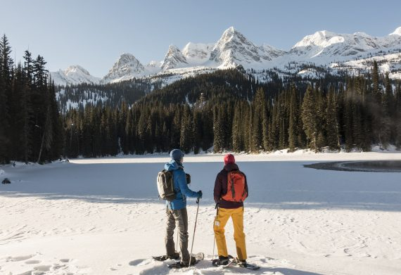 Island Lake Lodge, snowshoers posing, British Columbia