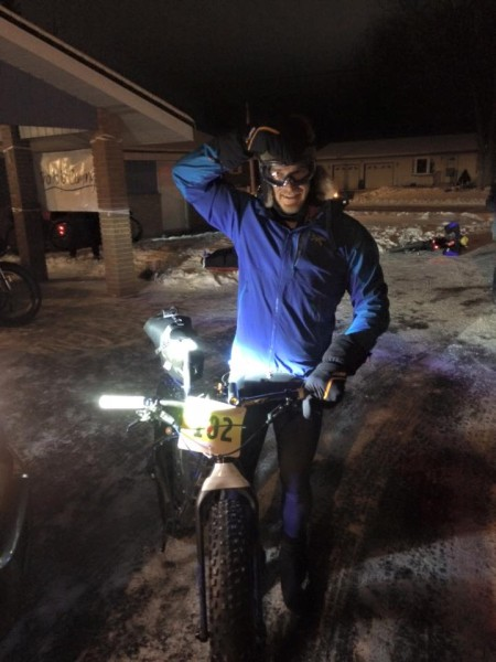 Winner Ryan Atkins before heading to the Saturday morning start of the fat tire 150