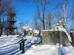 The quartzite boulders - Queen and King Chairs and 60-foot observation tower atop Rib Mountain