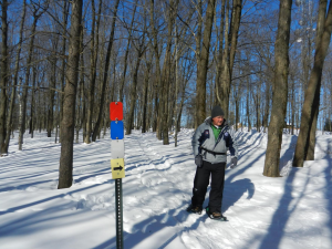 Rib Mountain trails are identified by color-coded markers
