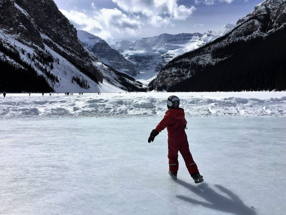 ice skating on Lake Louise, Alberta