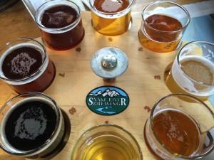 Snake River Brewery sampler flight.