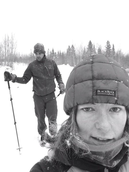 Chris Scotch following Helen, a noted winter endurance athlete in her own right. Also, the couple are the Race Directors at Tuscobia