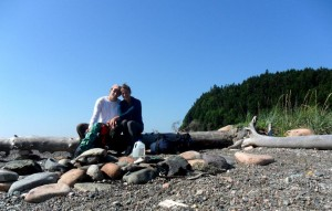 Danielle Griffin and Cameron Ough taking a break on one of the many cliff side beaches on the Fundy Foot Path.