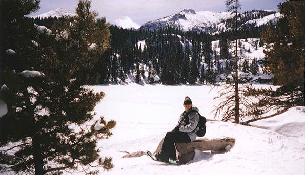 Snowshoeing at Bear Lake in the Rocky Mountain National Park in Colorado.