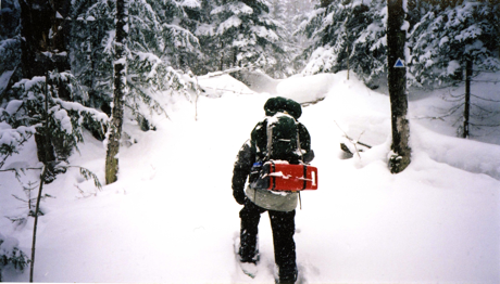 Snowshoeing three miles to Union River Cabin in the Porkies during a heavy snow was a challenge