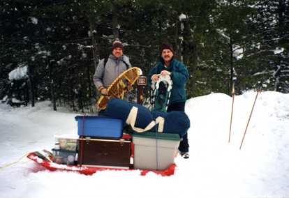 These two snowshoers are more than well packed for Tom's Lake Cabin in the U.P.