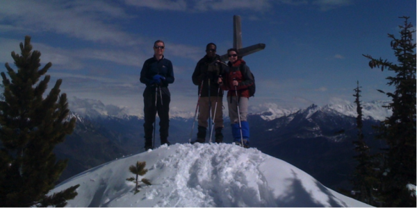With one of my snowshoeing groups on the summit of the Croix de l'Arpille.