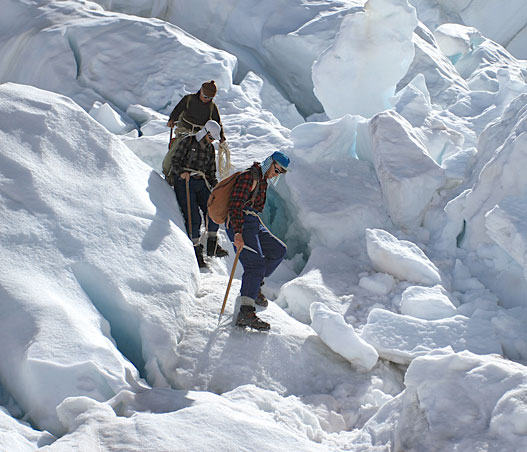sir edmund hillary climbing down icefall everest