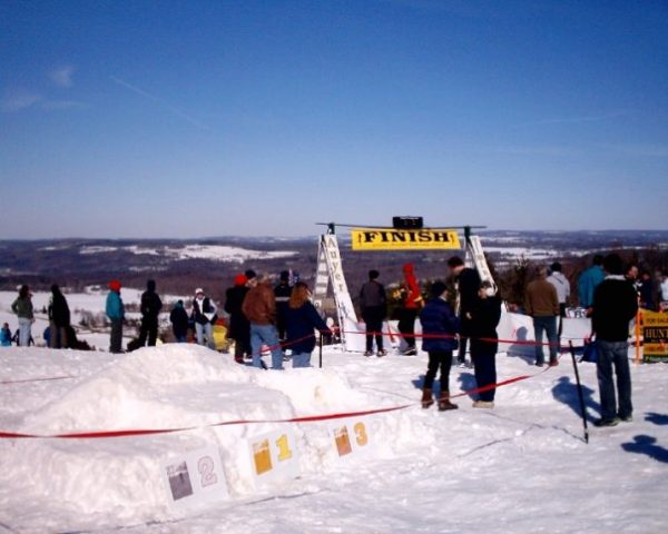 A finish after a BIG climb at the 2010 Dion Snowshoe USSSA National Championships, Highland County Park [near Syracuse], New York