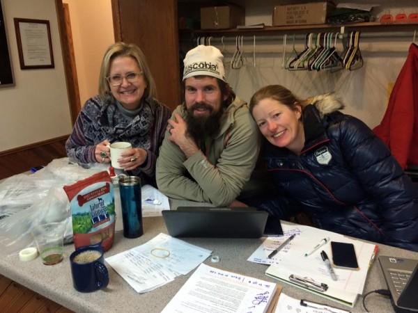 Race directors Helen (r) and Chris Scotch at the registration desk.